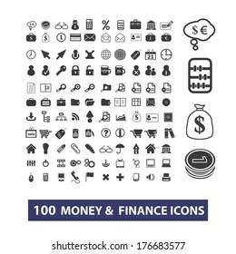100 money, finance flat icons set, vector