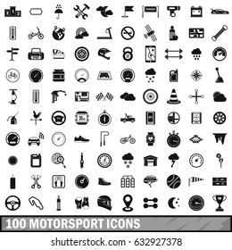 100 motorsport icons set. Simple illustration of 100 motorsport vector icons set isolated on white background