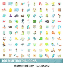 100 multimedia icons set in cartoon style for any design vector illustration