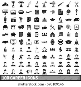 100 musician career icons set in simple style. Illustration of musician career icons isolated vector for any design
