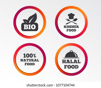 100% Natural Bio food icons. Halal and Kosher signs. Chief hat with fork and spoon symbol. Infographic design buttons. Circle templates. Vector