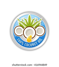 100% natural coconut oil badge or icon isolated on white background