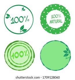 100% natural design. Set of logos. Vector illustration