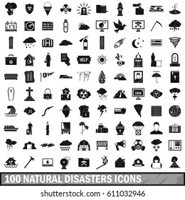 100 natural disasters icons set in simple style. Illustration of natural disasters icons sabotage isolated vector for web