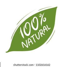 100% natural green hand drawn vector lettering. Eco friendly concept for stickers, banners, cards, advertisement. Vector ecology nature design.