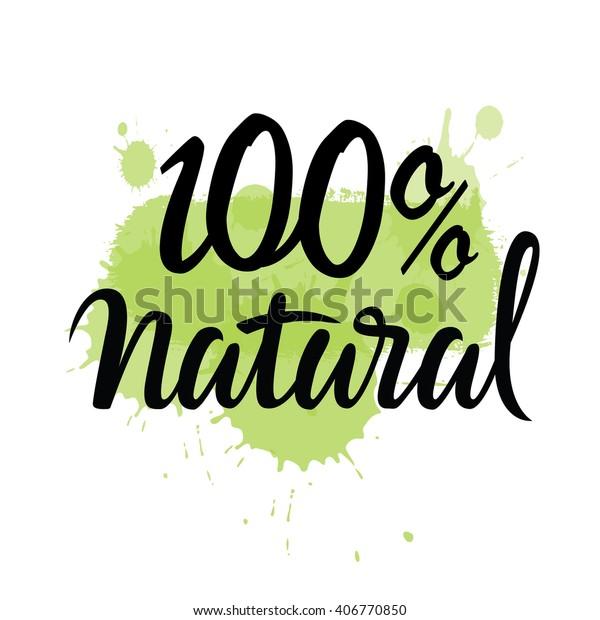 100 Natural Green Lettering Sticker Brushpen Stock Vector