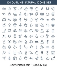 100 natural icons. Trendy natural icons white background. Included outline icons such as eggplant, butterfly, cangaroo, peas, garden tools, raspberry. natural icon for web and mobile.