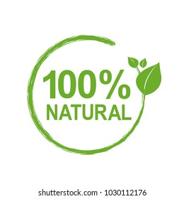 100% Natural Logo Symbol, Vector Illustration