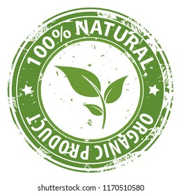 100% Natural Organic product green round rubber stamp icon isolated on white background. Healthy fresh food symbol. Vector illustration