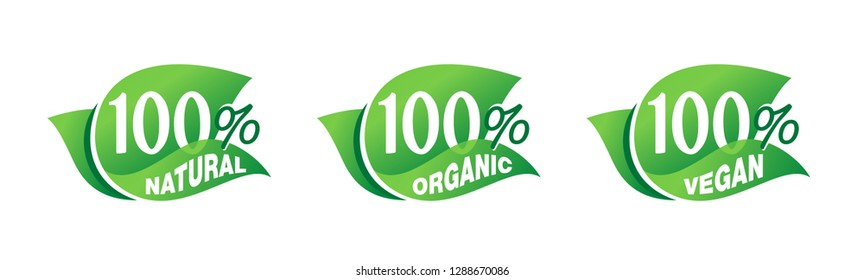 100% natural, 100% organic, 100% - tag for healthy food, vegetarian nutrition in leaf shape - vector sticker set