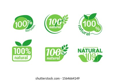 100% natural stamp collection - isolated vector quality sticker  for healthy food products in six6 different options - eco-friendly icon set
