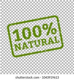 100% Natural Stamp Sign Transparent Background, Vector Illustration