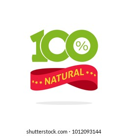 100 % natural vector green and red label, stamp or rubber isolated, 100 percent natural sticker or logo symbol design, number 100 sign