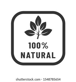100% natural vector icon. Organic, bio, eco symbol. Natural product stock vector illustration with leaves for printing on food packaging