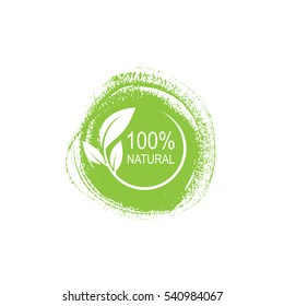 100% natural vector logo design on a paint background.