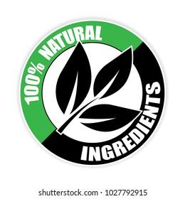 100% natural,ingredients sticker,vector illustration