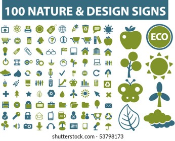 100 nature & design signs. vector