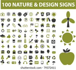 100 nature icons, signs, vector illustrations