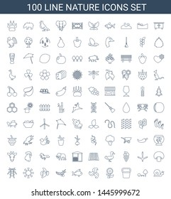 100 nature icons. Trendy nature icons white background. Included line icons such as snail, tree and bench, pot for plants, flower, plant, fish. nature icon for web and mobile.
