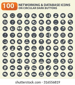 100 Networking,database server and technology icon set on buttons,clean vector