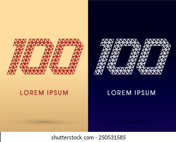 100 ,Number,Luxury font ,designed using red and silver triangle geometric shape on gold and dark blue background, concept shape from, jewelry, diamond ,gems ,logo, symbol, icon, graphic, vector.