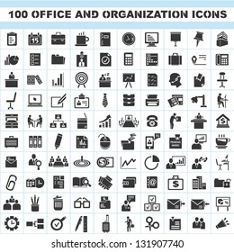100 office and organization icons set