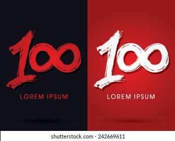 100, One hundred grungy  font, brush, logo, symbol, icon, graphic, vector.