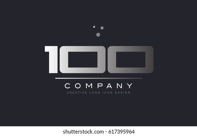 100 one hundred number silver metal grey blue dots company logo design vector icon template