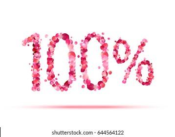 100 (one hundred) percent. Pink rose petals vector symbol