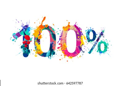 100 (one hundred) percent. Splash paint watercolor vector symbol