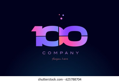 100 one hundred pink blue purple number digit numeral dots creative company logo vector icon design template