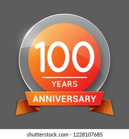 100 / One Hundred Years Anniversary Logo with Glass Emblem Isolated. 100th   Celebration. Editable Vector Illustration.