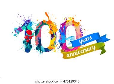 100 (one hundred) years anniversary. Vector watercolor splash paint