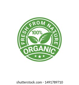 100% Organic Natural Badge Label Seal Sticker logo design vector