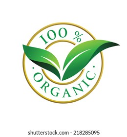 100% organic sign with green leaves. Vector