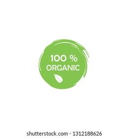 100% organischer Aufkleber.Grüner Gummistempel