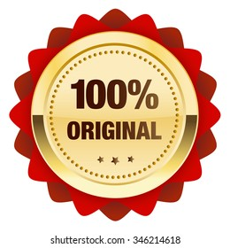 da6bf8c72023 100% original seal or icon. Glossy golden seal or button with stars and red