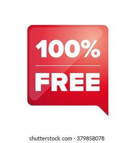 100 pecent free label red