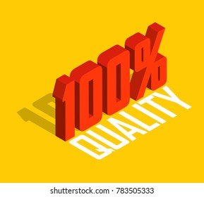 100% percent, 3D  isometric object. Sign of sale, quality, original, guarantee, natural. Red. Isolated yellow background. Eps10 Vector.