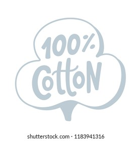 100 percent cotton logo. Hand drawn lettering. Vector grey text label illustration. Design Print on pack, packaging, cloth tag. silver gray