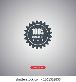 100 percent guarantee icon isolated on gray background. Modern flat style. Vector illustration.