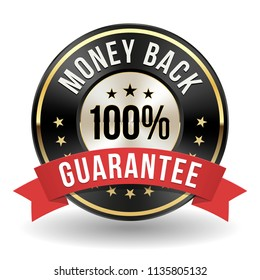 100 Percent Money Back Badge With Red Ribbon On White Background