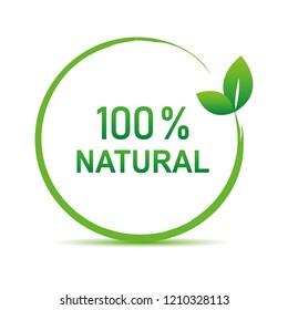 100 percent natural green symbol with leaf vector illustration EPS10
