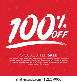 100 Percent off 100% Discount Sale Off big offer 100% Offer Sale Special Offer Tag Banner Advertising Promotional Poster Design Vector Offers Mobile Fashion Electronics Home Appliances Books Jewelry