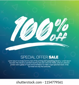 100 Percent off 100% Discount Sale Off big offer 100% Offer Sale Special Offer Tag Banner Advertising Promotional Poster Design Vector Offers Mobile Fashion Electronics Home Books Jewelry Mega