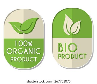 100 percent organic and bio product with leaf signs banners
