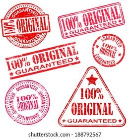 100 Percent original rubber stamp symbol vector illustrations