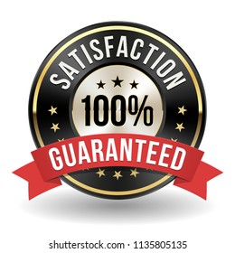 100 Percent Satisfaction Badge With Red Ribbon On White Background