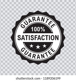 100 percent satisfaction Guarantee Icon in black Color and transparent background