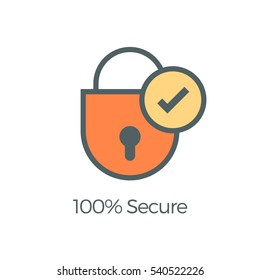 100 percent secure payment gateway shopping web vector icon